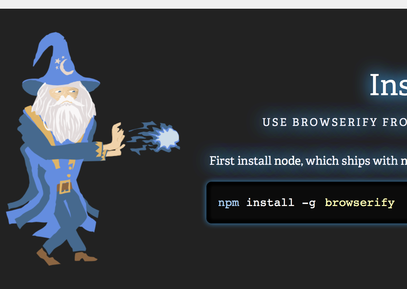 Screenshot of Browserify website