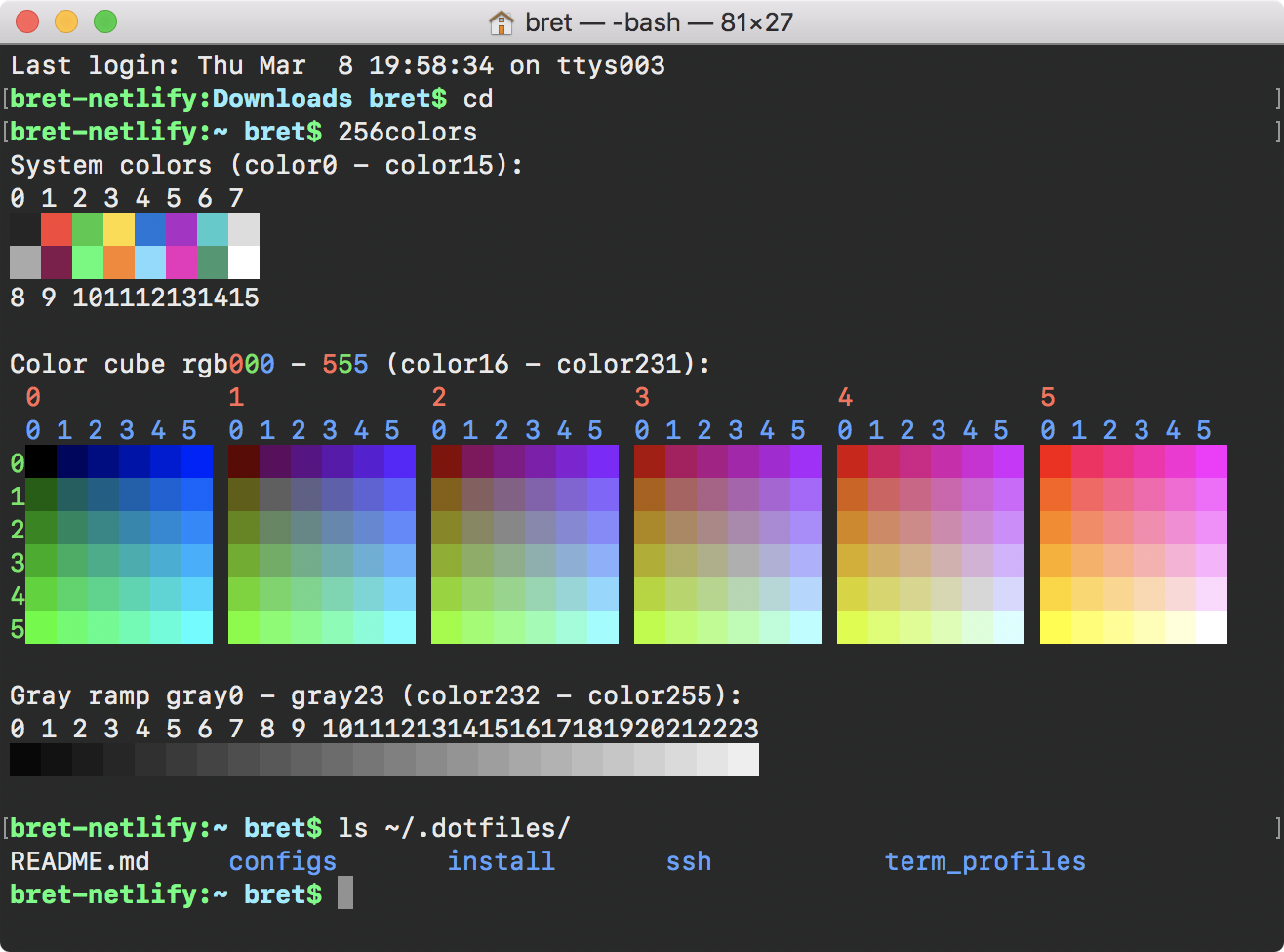 Screenshot of my terminal