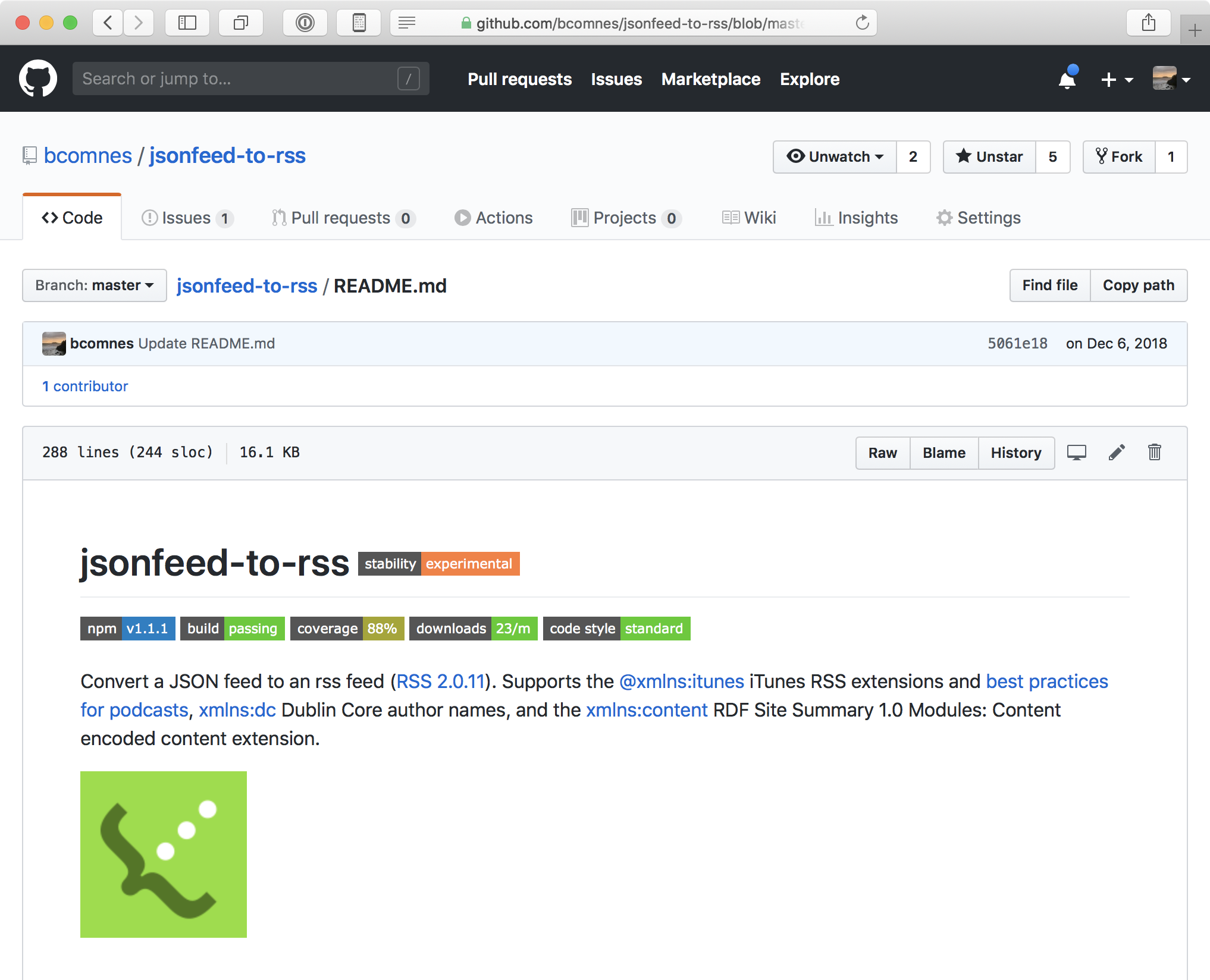 Screenshot of JSONFeed-to-RSS
